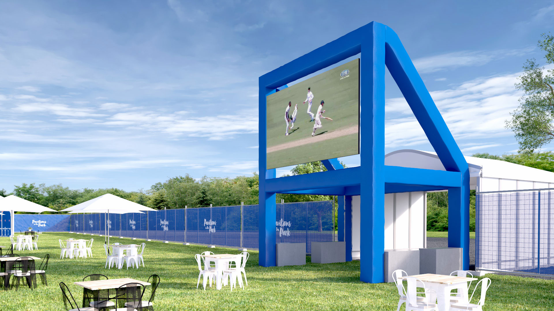 An artist's impression of the hospitality area in Yarra Park for MCC members during the 2017 Boxing Day Test.