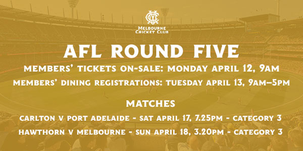 Round 5 ticket on-sale details